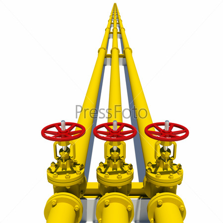 Three yellow pipes with valves