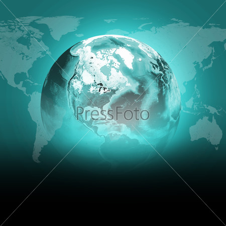 Green earth globe with continents, transparent. World map on dark background