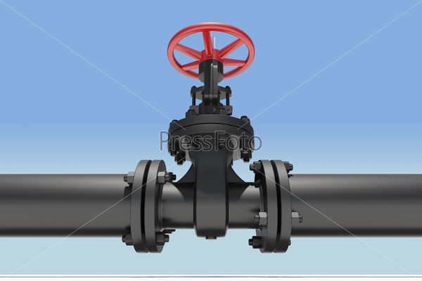 Black pipe and valve
