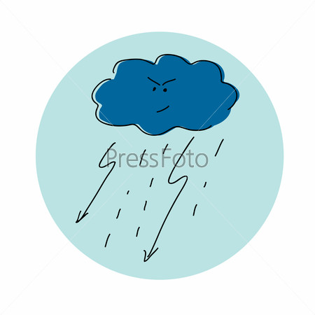 Evil cloud. Vector illustration.