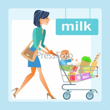 mom hopping cart baby store