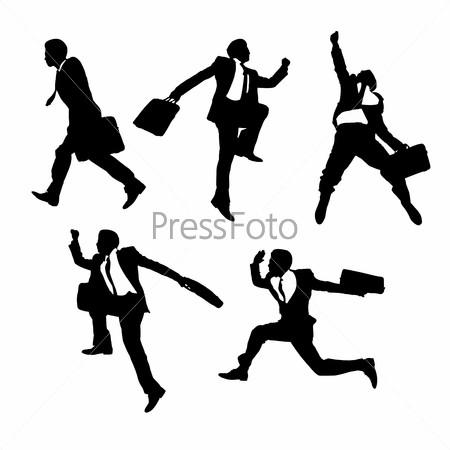 jump and running Businessmen