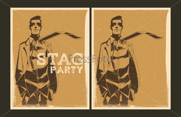 Set of vector Stag party posters
