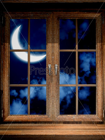 Wooden window and crescent