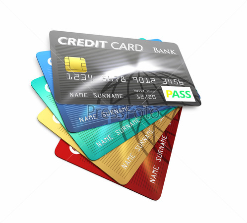 Stack of credit card isolated on white background