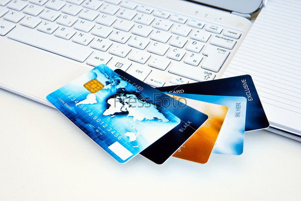 credit cards on computer