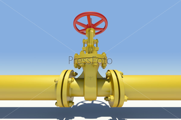 Yellow pipe and valve. Sky as backdrop