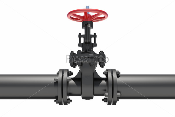 Three-dimensional model of valve connected to pipe flanges