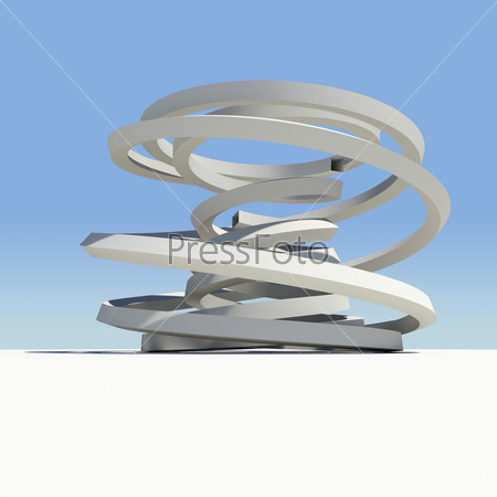 Abstract arch with shadow on sky background