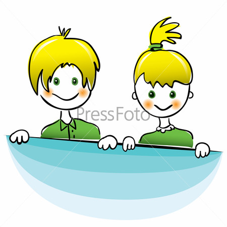 Vector. Happy boy and girl with bright yellow hair