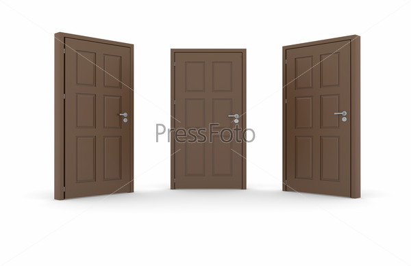 Three brown 3d door locks and doorhandle