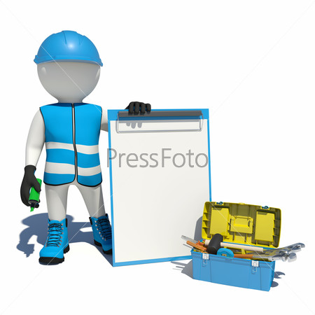 White man in special clothes, shoes and helmet holding clipboard, soft-tip pen green. Background of toolbox
