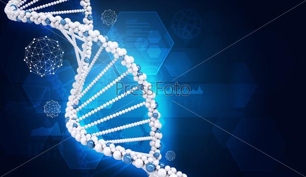 Human DNA. Background of hexagons