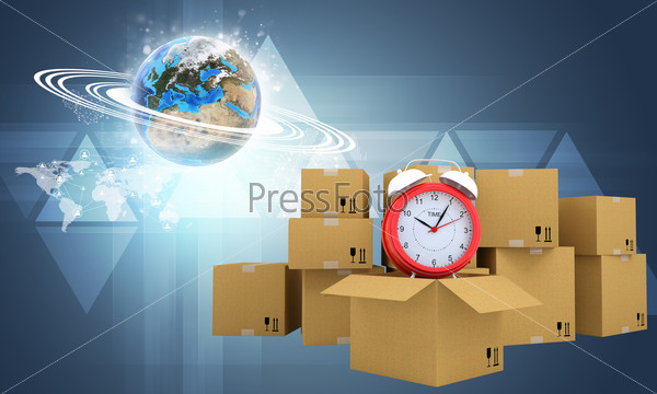 Postal boxes on them alarm clock. Backdrop of earth, triangle