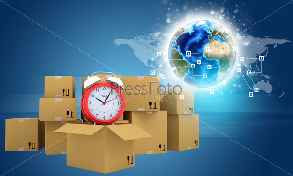 Postal boxes on them alarm clock. Backdrop of earth, gradient dark blue