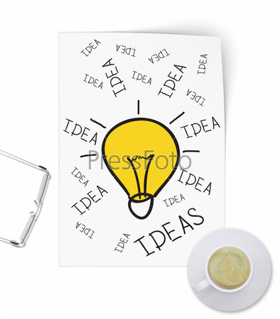 Illuminating idea in form of sketch paper