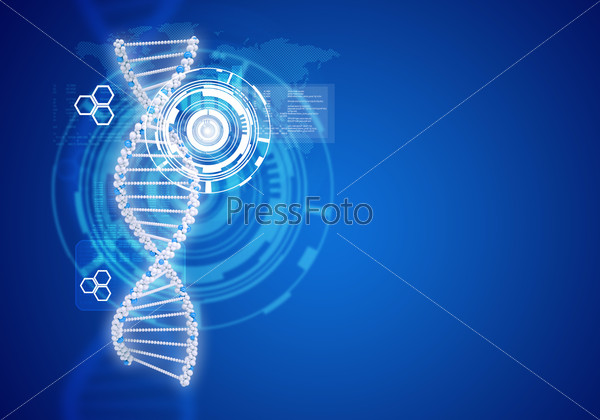 Human DNA. Background of white ring with hexagon
