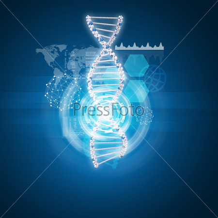 Human DNA. Background of hexagons, world map, graph