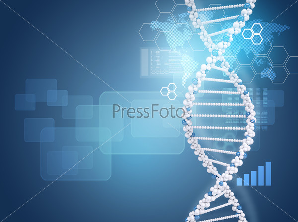 Human DNA. Background of hexagons, boards, graph, world map