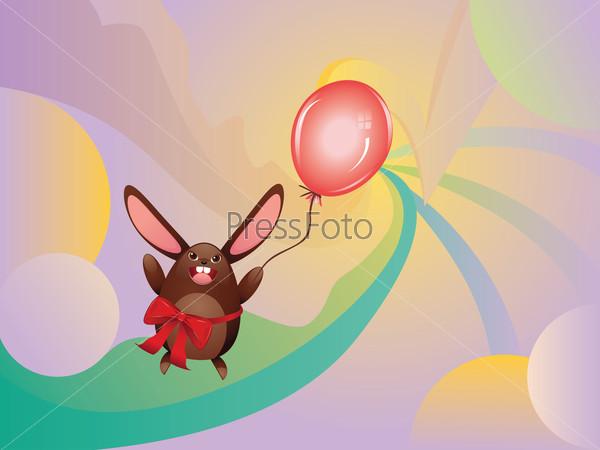 Chocolate Bunny with Balloon