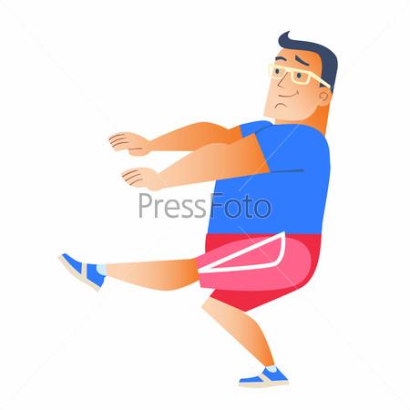 Fat man plays sports