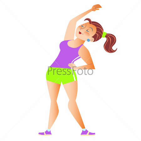 Fat girl doing gymnastics sports physiotherapy