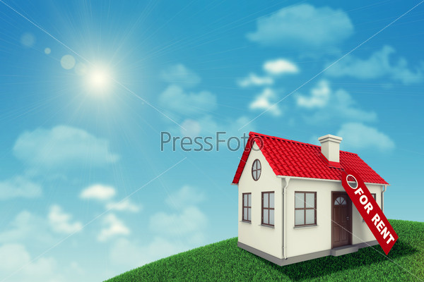 White house with red roof and chimney on green grassy hill for sale. Background sun shines brightly, clouds