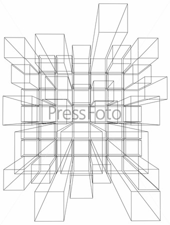 Vector illustration of 3d cubes