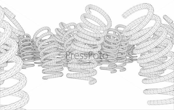 Many springs. Vector rendering of 3d