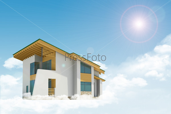Cottage with windows in clouds. Background sun shines brightly