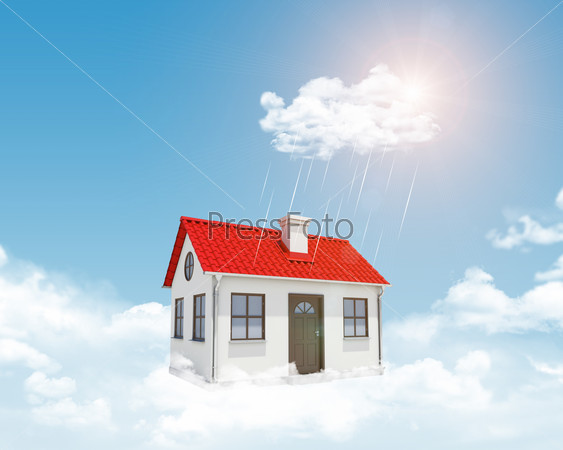 White house with red roof, chimney in clouds. Background sun shines brightly and drizzle