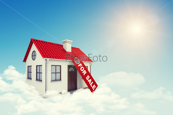 White house with label for sale, red roof and chimney in cloud. Background sun shines brightly