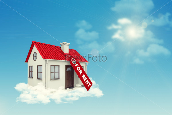 White house with label for rent, red roof and chimney in clouds. Background sun shines brightly