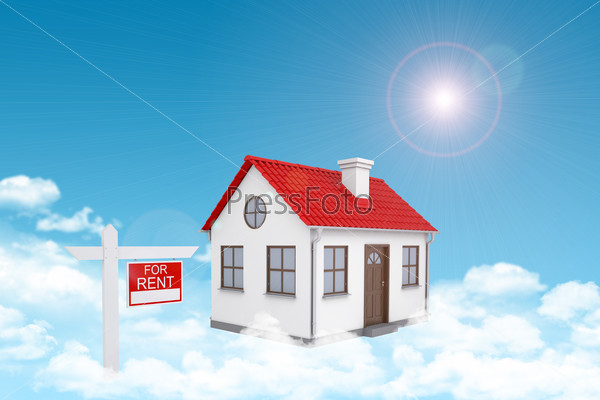 White house with red roof and chimney in cloud. Near there is signboard for rent. Background sun shines brightly