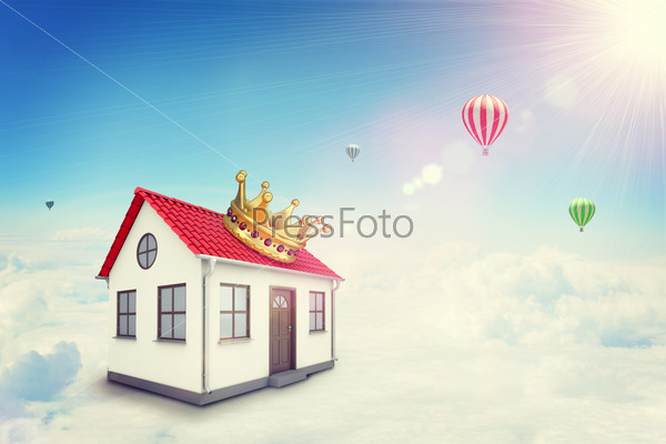 White house with red roof and crown in cloud. Background sun shines brightly, flying hot air balloon