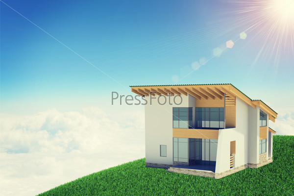 Hands holding cottage in clouds with windows. Background sun shines brightly