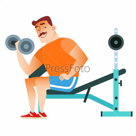 Man fitness muscle workout dumbbells