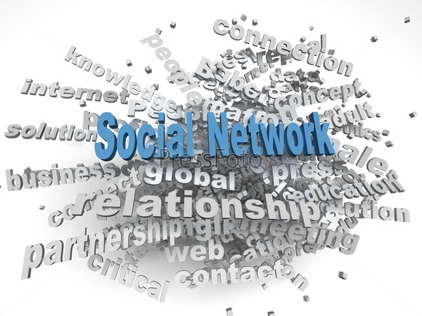 3d image social network   issues concept word cloud background