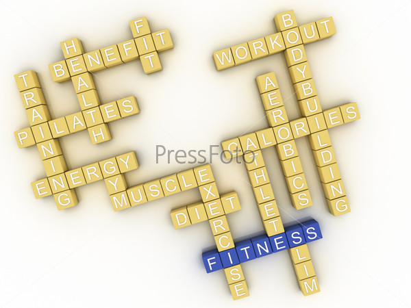 3d image Fitness  issues concept word cloud background