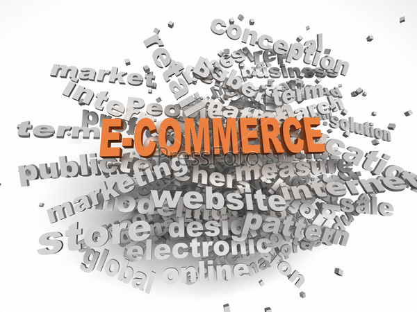 3d image E-COMMERCE  issues concept word cloud background