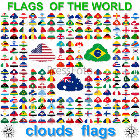 Flags of the world and  map on white background.