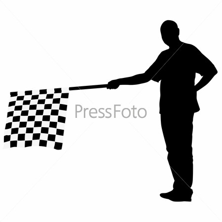Man waving at the finish of the black white, checkered flag.