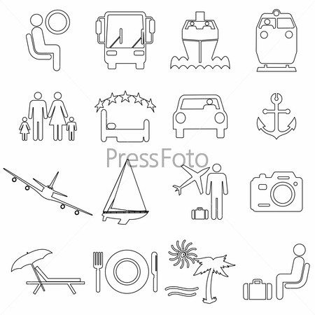 Collection flat icons with long shadow. Travel symbols.