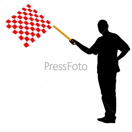 Man waving at the finish of the red white, checkered flag.