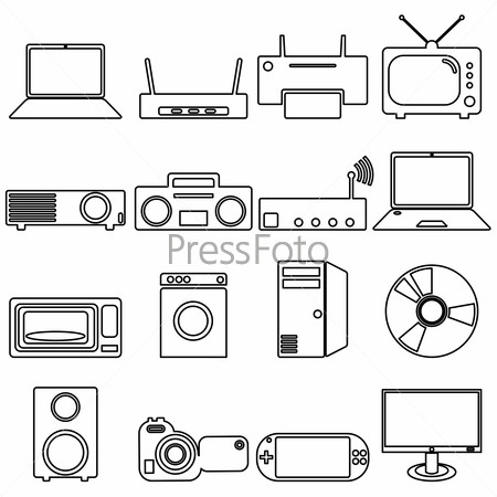 Collection flat icons with long shadow. Electrical devices