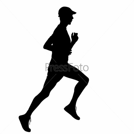 Running black silhouettes. illustration.