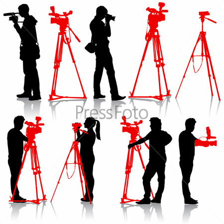 Cameraman with video camera. Silhouettes