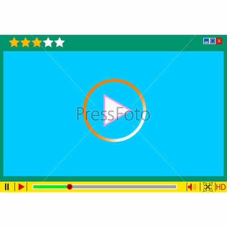 Video movie media player interface. illustrations.