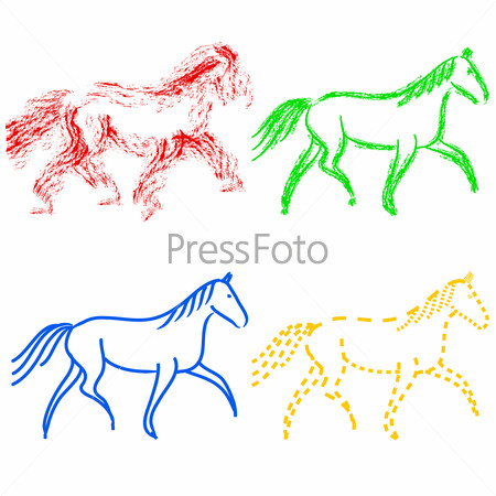 set  colors horses outlines. collection
