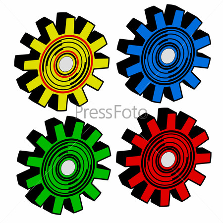 Colors  gears on white background